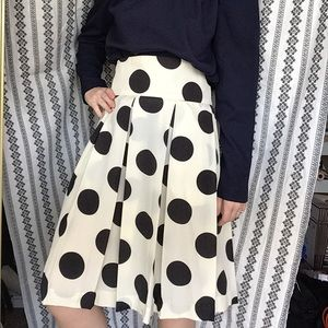 Vintage black & cream polka dot midi skirt